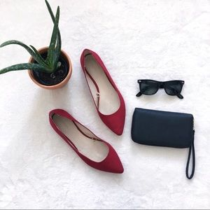 burgundy pointed toe flats